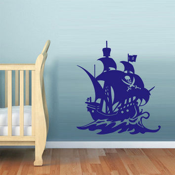 rvz630 Wall Decal Vinyl Sticker Bedroom Nursery Kids Baby Ship Ocean Sea Pirate Z630