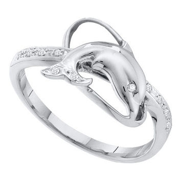 10k White Gold 0.05Ctw  Diamond  Dolphin Ring