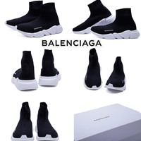 2018 PARIS Balenciaga Original Material Italy Balenciaga Stretch-knit Mid Speed Sock Running Shoes For Men&Women Black White Summer Sneakers Size 36 -45