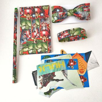 Boy's Green Clip On Bow Tie, Avengers Hulk Gift Set, Cool Kid's Bowtie