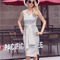 White Front Tied Sleeveless Side Slit Dress