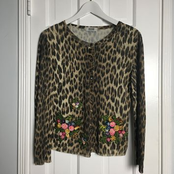 Moschino leopard print floral embroidered cardigan sz M