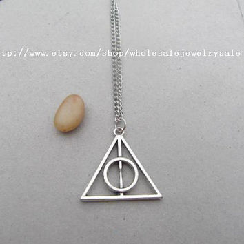 SALE -wholesale Harry Potter - Luna Lovegood The Deathly Hallows necklace with charm chain jewelry