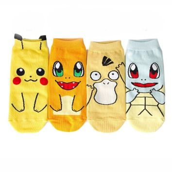 Cute Japanese Anime Pokemon Ankle Socks Pikachu Nintendo Character Pocket Monsters Women Short Socks Cosplay Christmas Gift
