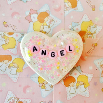 Angel Sparking Pastel Heart Brooch Necklace Pendant Or Collar Charm