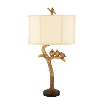 93-052 Three Bird Light Table Lamp in Gold Leaf and Black - Free Shipping!