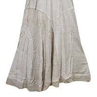Mogul Interior Women's Skirt Gypsy Designer Beige Embroidered Long Maxi Skirts M/L