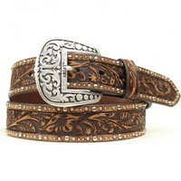 Ariat Tooled & Studded Leather Belt - Sheplers