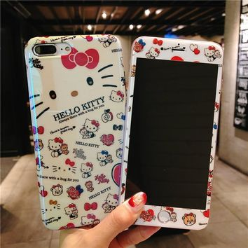 Cute hello Kitty case For iPhone 8 8Plus Tempered Glass Screen film & blue ray KT soft Cover for iPhone X 7 7plus 6 6S 6SPlus