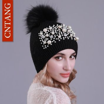 CNTANG Fashion Big Pearl Beanies Winter Wool Hats For Women Real Raccoon Fur Pompom Caps Ladies Knitted Warm Female Hat