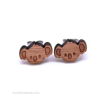 Koala Bear Earrings Cute Bamboo Stud Earrings Wood Wooden Studs Posts Fun Kawaii Animal Jewelry Gifts Gift Ideas For Friend Teens Girls Her