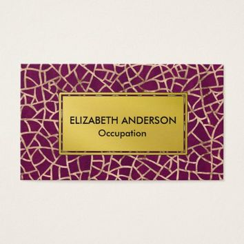 Glam Gold and Purple Crackle Business Card