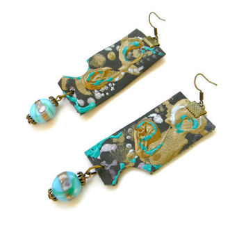 Leather earrings abstract jewelry 3D lampwork beads geometric leather jewelry turquoise blue golden gray irregular fashion jewelry minimal