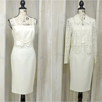 Vintage 80s off white Wedding  / Formal dress / size 8 / 9 / Ivory bridal / mother of bride / 2 piece dress / evening / dinner party dress