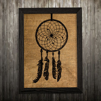 Dreamcatcher poster Burlap print Tribal print Antique decor BLP852
