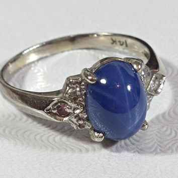 Ladies Vintage Star Sapphire Blue 14k White Gold Ring Diamond Accents Lovely Blue Hue Prominently Visible Star Sweet Ring Vintage