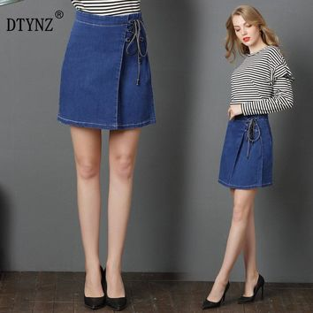 DTYNZ denim skirt four seasons large size loose side denim skirt trend lace fashion slim no pocket simple women's jeans skirt