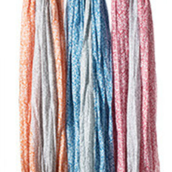 Cotton Printed Scarf with Tassels