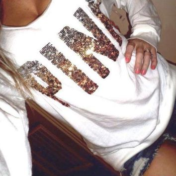 Victoria's Secret PINK Sequin Letter Pattern Trending Women Casual Long Sleeve Shirt Pullover Sweater Blouse Top I