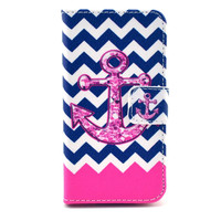 Pink Anchor Leather Flip Case For Iphone 5c