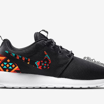 Nike Roshe Run Custom Black White Aztec