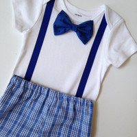 First Birthday Onesuit & Shorts, Boys 1st Birthday, Summer Outfit, Boys Birthday Onesuit, Matching Shorts and Bowtie Shirt