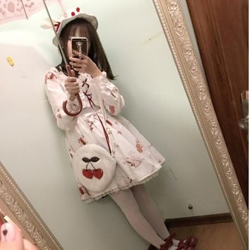 Japanese new lolita cute cotton dress 2018 soft sister  Vintage long sleeve clothes Charlotte Rita high waist dress w993