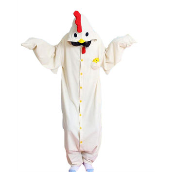 Unisex Adult Pajamas  Cosplay Costume Animal Onesuit Sleepwear Suit    White chicken