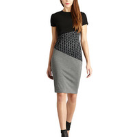 Donna Morgan Mixed Media Seamed Sheath Dress