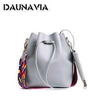 DAUNAVIA Fashion Colorful Strap Bucket Bag Women High Quality Pu Leather Shoulder Bag Brand Desinger Ladies Crossbody Bags ND096