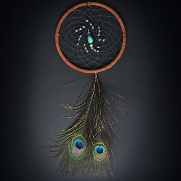 Peacock Feather Turquoise Dream Catcher by ReinaJewelers on Etsy