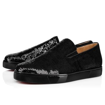 Best Online Sale Christian Louboutin Cl Boat Man Flat Black/gold Paillette Caresse Sneakers 3170824cm6s
