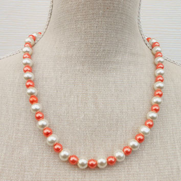 Ivory and orange pearl necklace, Wedding necklace, Bridesmaid gift, Bridesmaid necklace, Mother of the bride, Jewelry party, gift
