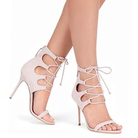 Stiletto High Heel Straps Open Toe Zipper Sandals