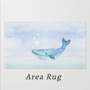 Nautical Area Rug Whale Swimming Ocean Bubbles Light Blue Throw  Rectangle Rug Home Dorm Apartment Decor