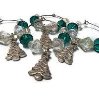 Christmas Wine Charm Rings Napkin Rings Home Decor Green Glass Crystal Beads With Christmas Tree's