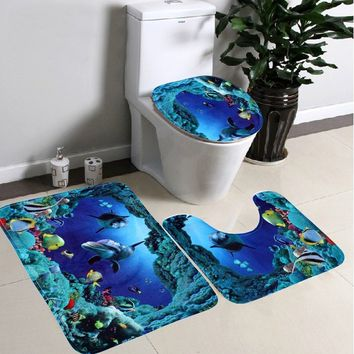 3pcs/set Bathroom Non-Slip Blue Ocean Style Pedestal Rug + Lid Toilet Cover + Bath Mat (Size: 1PC)