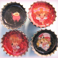 Upcycled Bottle Cap Magnets Resin Handmade Kawaii Angels Lobster Black Red Recycled Reclaimed Repurposed Eco Friendly Ceramic Magnet
