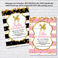 Unicorn invites, Birthday Invitation, gold unicorn girl birthday party for any age 1st 2nd 3rd 4th 5th 6th 7th 8th 9th 10th- card 1207