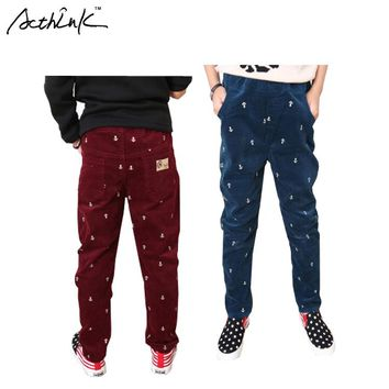 ActhInK New Teen Boys Spring Casual Anchor Pattern Corduroy Pant Brand Children Winter Navy Style Anchor Trousers for Boys,ZC010