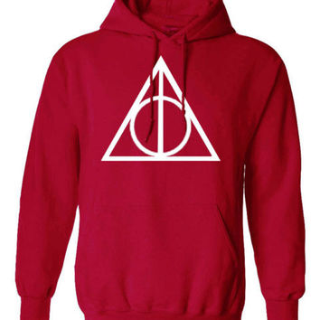Harry Potter Triangle INSPIRED Deathly hallow PRINTED TOP HOODIE PULLOVER JUMPER - RED