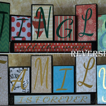 Family Is Forever, Reversible blocks, Jingle All The Way, Christmas Decor, Wood Sign, Wood Blocks, Holiday Decoration