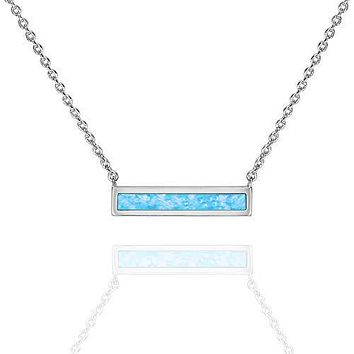 """Opal Created Bar Necklace 18"""" - 18K White Gold Plated"""