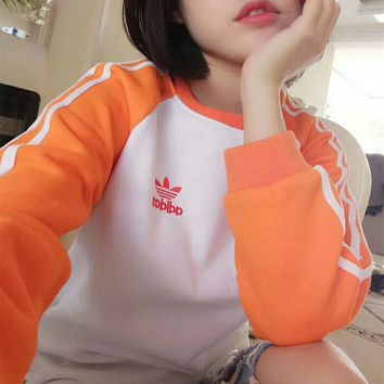 """Adidas"" Women Fashion Top Sweater Pullover Sweatshirt - Orange/White"