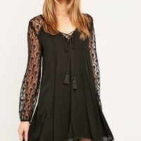 Ecote Aura Embroidered Mesh Sleeve Dress - Urban Outfitters