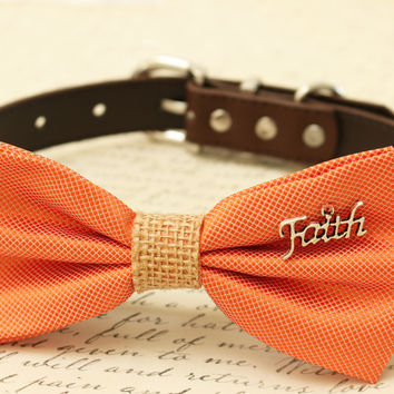 Orange Dog Bow Tie, Bow tie attached to brown dog collar, Burlap, Wedding accessory, Gift, charm, Christmas gift, Faith, Christian gift