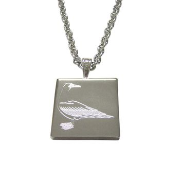 Silver Toned Etched Seagull Bird Pendant Necklace