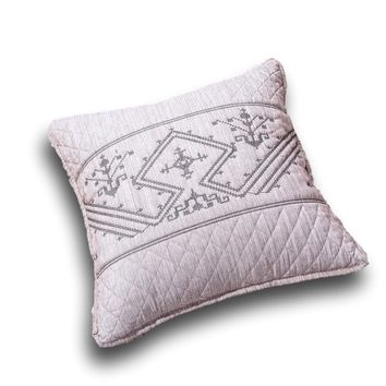 "DaDa Bedding Set of Two Elegant Fair Isle Purple Grey Yarn Dyed Throw Pillow Covers, 18"" x 18"",  2-PCS (JHW866)"