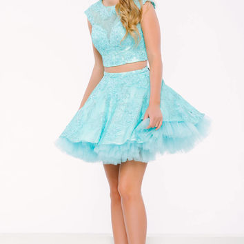 Blue Cap Sleeve Two- Piece Dress 39522