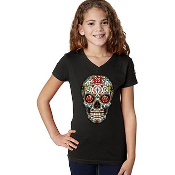 Girls Halloween T-shirt Sugar Skull with Roses V-Neck